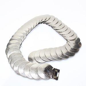 Vintage Silver Coin Stretch Waist Clench Belt